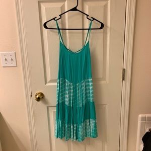Teal and white sundress